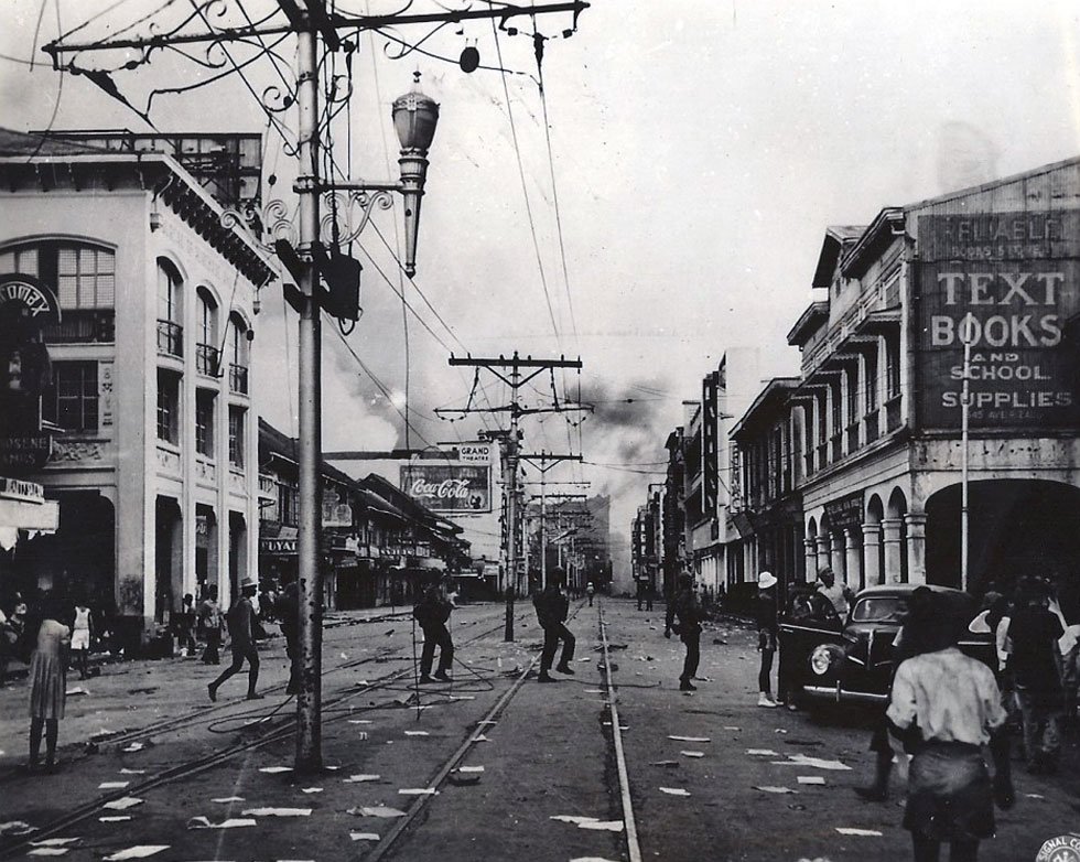 Rizal Ave. during the Battle of Manila, 1945